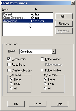 Screenshot: Client permissions of a mail-enabled public folder.